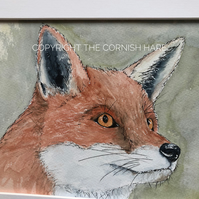 Original watercolour of Felix the Fox, mounted  FREE POSTAGE