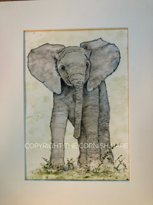 Original watercolour of Tembo the Elephant, mounted - FREE POSTAGE