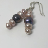 Beautiful pink and purple freshwater pearl earrings - FREE UK DELIVERY