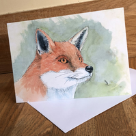 A5 blank card of my original fox watercolour- free UK postage