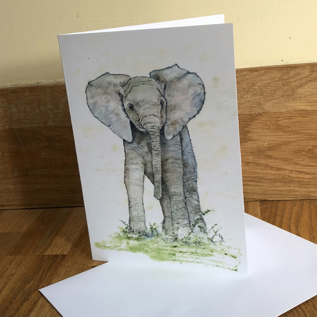 FREE UK POSTAGE A5 blank card of my original elephant watercolour