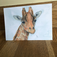 FREE UK POSTAGE A5 blank card of my original giraffe watercolour