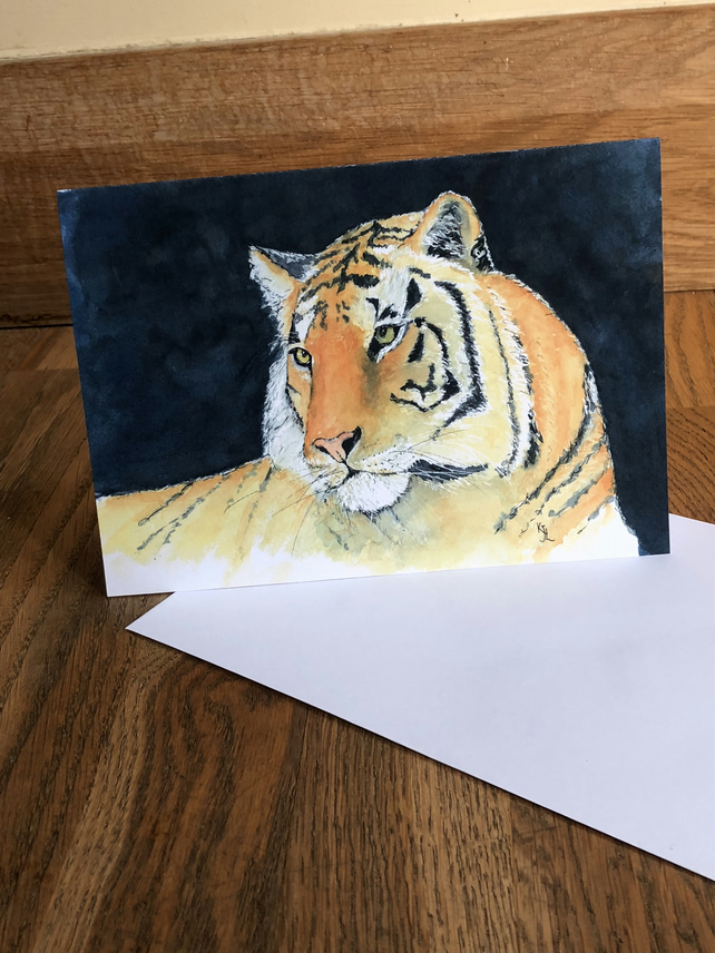 A5 blank card of my original tiger watercolour- free UK postage