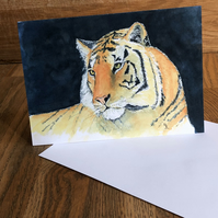 FREE UK POSTAGE - A5 blank card of my original tiger watercolour