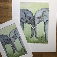 A4 or A3 mounted print of Elwood and Eloise Elephant from original watercolour