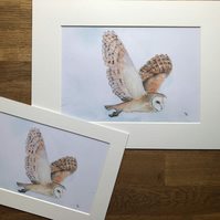 A4 or A3 mounted print of Bodrifty Barn  Owl from my original watercolour