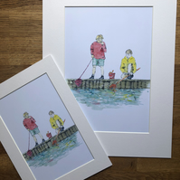 A4 or A3 mounted print of Fishermen Friends from my original watercolour
