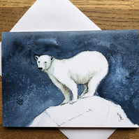 Free UK post  - A5 blank card of Phileas Polar Bear