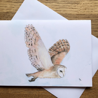 Free UK post  - A5 blank card of Bodrifty Barn Owl -
