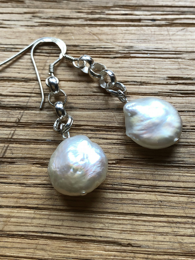 Fabulous white freshwater pearl & sterling silver earrings - FREE UK DELIVERY