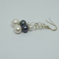 Beautiful freshwater pearl and sterling silver earrings
