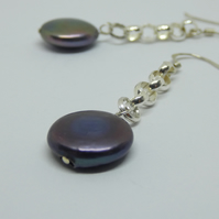 Gorgeous freshwater pearl and sterling silver earrings