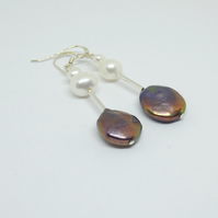 Stunning freshwater pearl and sterling silver earrings