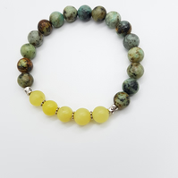 Green Jasper and Yellow Jade Gemstone Mala Bracelet for Courage and Positivity