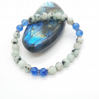 Lotus Jasper and Blue Agate Bracelet to Balance Yin and Yang