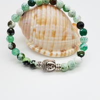 Green Fire Agate Beaded Mala Bracelet with Buddha feature