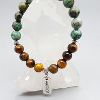 African Turquoise, Tigers Eye, Warrior Charm Bracelet. Natural Gemstone Beads.