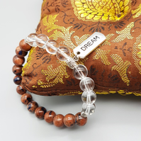 Natural Goldstone and Clear Quartz Beaded Bracelet with Dream Charm