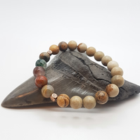 Picture Jasper and Indian Agate Mala Bracelet. Grounding and connection to Earth