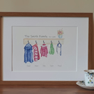 Personalised family clothes pegs (large - A3 finished size, when framed)