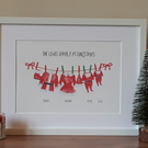 Personalised Christmas Santa family print (large- A3 finished size, when framed)