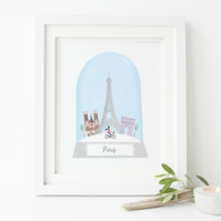 Personalised Paris Snow Globe Print
