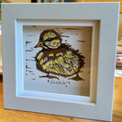 Little duckling - one off hand printed