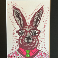 Grey rabbit - hare - original print