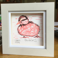 Little Pink Duckling - original linocut