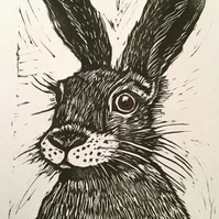 Limited edition Hare lino print - Hare Today!