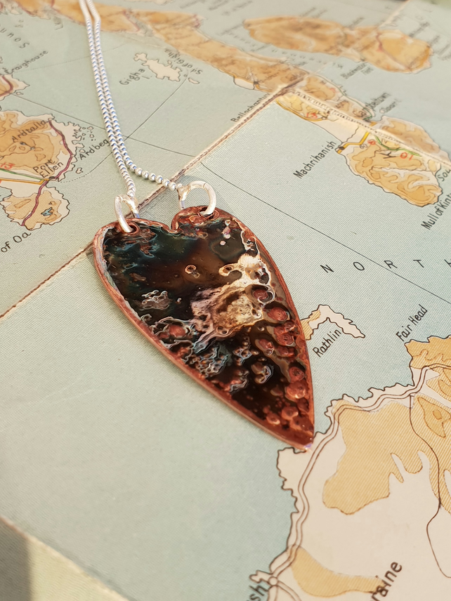 Brown bronze raku fired enamel pendant necklace
