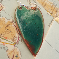 Green raku fired enamel pendant necklace