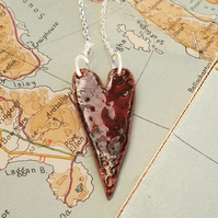 Red enamel heart pendant necklace raku fired