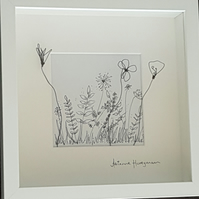 Floral hand illustrated shadow box frame art