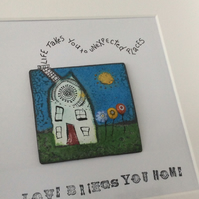 Wee house mixed media box framed art
