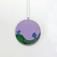 Scottish Landscape Necklace with Wee House and Tree - handmade in Scotland