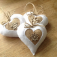 Rustic hessian and white felt hanging heart Christmas decorations