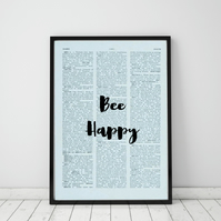 Bee Happy Wall Print, Office Quote Print