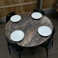 Handmade Reclaimed Scaffold Board 4 Seat Circular Dining Table with Hairpin Legs