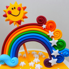 Personalised RAINBOW and SUN cake topper sugar paste,shipping from the UK