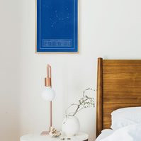 VIRGO CONSTELLATION - ZODIAC - star sign - cyanotype - unique - print - handmade