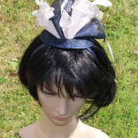 Navy & Grey Lily Fascinator