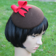 Brown Felt Mini Beret with Red Bow