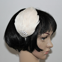 Feather Headpiece, Off-White Feather Hair Accessory