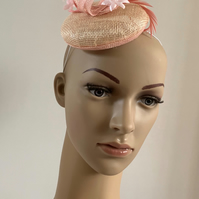 Pink Sinamay Button Fascinator