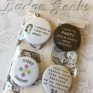 "Set of 4 Crochet Themed 1"" Pinback Button Badges, Gift for Crocheters"