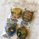 Set of 4 Agatha Christie Inspired Button Badges, Murder Mystery, Gift