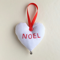 Embroidered stuffed hanging heart Christmas decoration