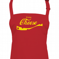 ENJOY CHEESE famous fizzy drink, funny dairy loving unisex apron  - AA1201