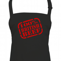 100% BRITISH BEEF- Funny unisex kitchen chef's apron  - AA1307